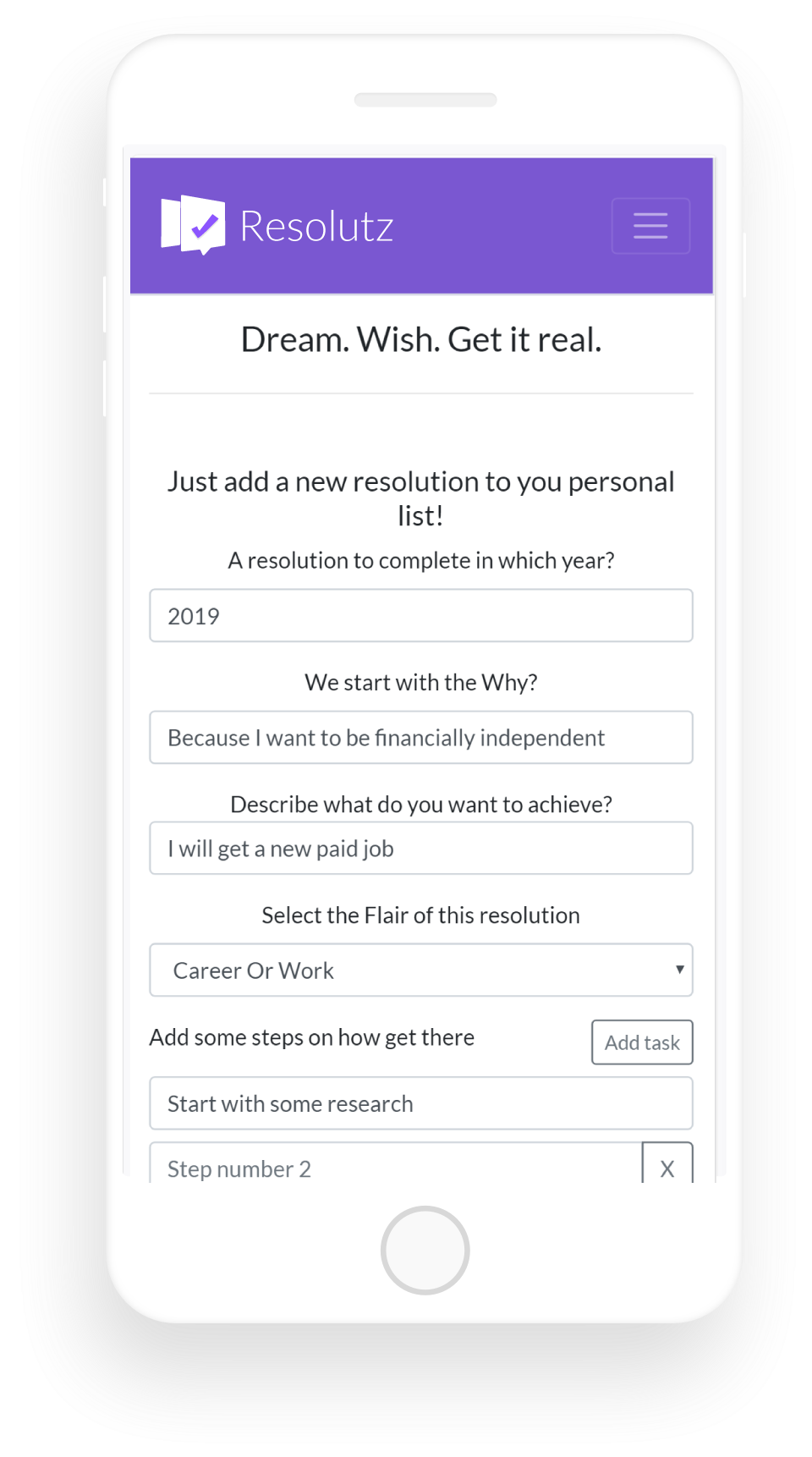 Goals Tracker App - Achieve Your New Year Resolutions | Resolutz